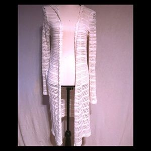 Cream knit 3/4 length duster with hood